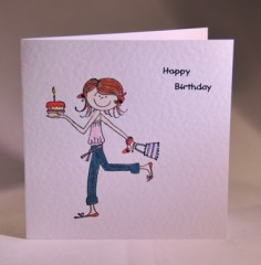 Young Girl with Cake Birthday Card
