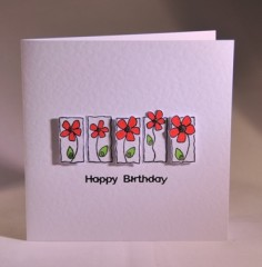 Red Flowers Birthday Card