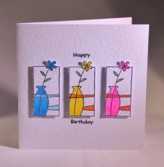 Flower Vases Birthday Card