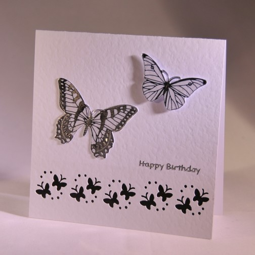 A stylish handmade birthday card with butterflies – Butterfly Birthday Card