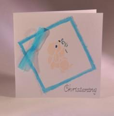 Rabbits and Ribbons Christening Card