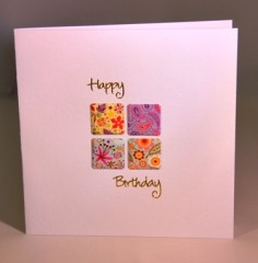 Retro Flowers Birthday Card