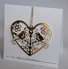 Silver LoveBirds Christmas Card