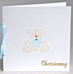 Teddy Christening Card