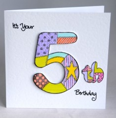 Patchwork Fifth Birthday Card