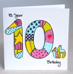 Patchwork Tenth Birthday Card