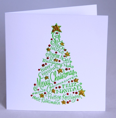 christmas words tree card - Christmas Tree Card