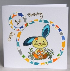 First Birthday Rabbit Card
