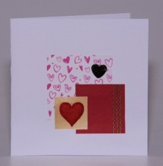 Red Fabric Heart Valentine Card
