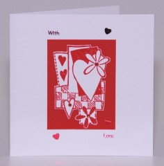 Hearts and Flowers Valentine Card
