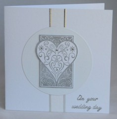 Silver Heart Wedding Card
