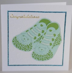 Blue Bootees Card