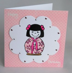Japanese Doll Birthday Card