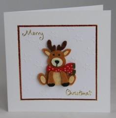Christmas Felted Reindeer Card