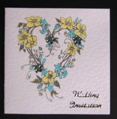 Heart Flower Wreath Wedding Stationery